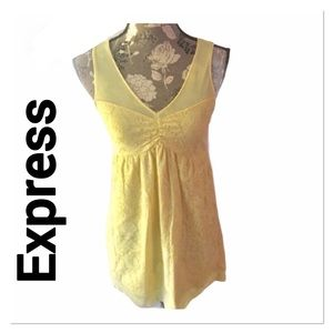 EXPRESS Yellow Lace Babydoll Top Small